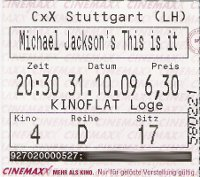 Michael Jackson's This is it Eintrittskarte